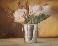 Protea painting Protea Art, Oil On Canvas, Canvas Art, Flower Paintings, Artworks, Art Ideas, Art Gallery, Projects To Try, Decorating Ideas