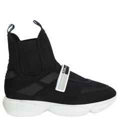 The velcro grip strap across the vamp is made of white, black and grey rubber. High Top Wedge Sneakers, Black Sneakers, Prada Sneakers, Shoes Sneakers, Black Mesh, Black Rubber, High Tops, Black Leather, Street Chic