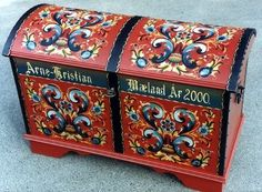 Norwegian rosemal hope chest / Christmas Kjiste / A source of Pain -- when there is more than one child in the family to inherit it. So mystical to have in the home every day. Why was it cracked? Oh, Grandfather sat on it. :-) Even that, made it sweet.