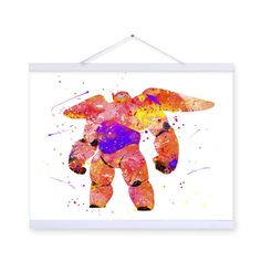 Freeshipping Original Watercolor Baymax Drawings Kids Room Modern Abstract Wall Art  Large Movie Anime Poster Prints Canvas Paintings Gifts