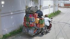 This guys seriously loaded up the motorcycle.  Seen this before on  Google Street View