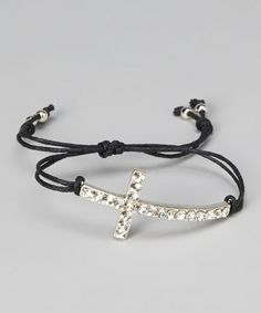 Silver Sparkle Cross Bracelet