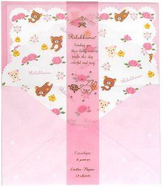 Rilakkuma Pink Flowers 2009 Letter Set