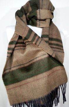 Brown Scarf, Colorful Wool Men's Scarf, Green blue  Scarf, Chashmere Men's Scarf - EV514055