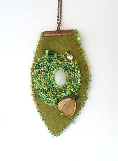 Leaf III unique fiber art necklace in green tones bead by Cesart64