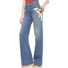 Sandrine Rose The Wide Leg Jeans (€79) ❤ liked on Polyvore featuring jeans, salton, cuffed jeans, colorful jeans, blue jeans, 5 pocket jeans and embroidery jeans