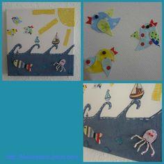 """""""Vögel und Meer"""" Bild Kinderzimmer Leinwand Stoffreste"""
