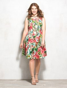 Plus Size Tropical Floral Fit-and-Flare Dress from dressbarn on Catalog Spree
