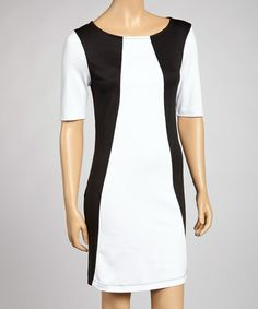 Take a look at this Black & White Color Block Shift Dress by Bailey Blue on #zulily today!