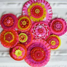 Felt Embroidered Circles Embellishments  Candy by bellacelestina, $10.00