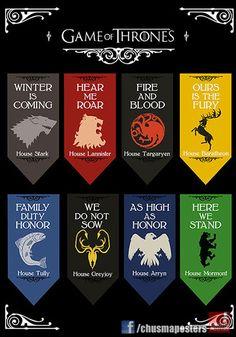 Game of Thrones. Escudos familiares.  De venta en facebook.com/chusmaposters