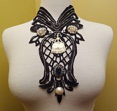 Vintage Necklace Runway Black Lace Marie Antoinette Pearls Rhinestones Big Blue Gem  By VintElegance.com