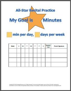 All-Star Piano Recital Practice Chart | Ear Training and Improv