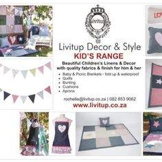Kids Decor Range  Bright and fun range of Kids Decor for the Bedroom and also fun kids Aprons, portable patchwork baby blankets and Kids Quilts. Fabrics are printed or Appliqued to create fun designs with stars, hearts, bunnies and more.  www.peek.org.za