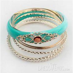 Elegant Modern Style Beads and Faux Gem Embellished Bangles.
