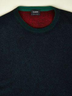 Jil Sander Men's Overdyed Multi Colour Crew Neck Knit | oki-ni