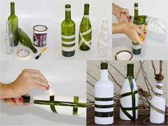 IDEAS PARA REGALAR A MAMA: Pinta botellas dándole formas con cintas... que bien quedan para DECORAR!!!