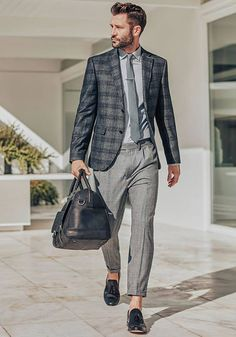 Today's Look: Tonal smart-casual. Photo: Next . #ootd #menswear #mensfashion #mensstyle #instafashion #checkedblazer #greyongrey