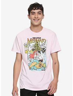 51e2105b16802 Disney The Little Mermaid Classic Poster Pink T-Shirt