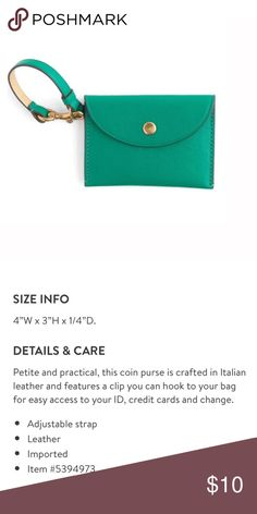 NWOT J.CREW Leather Coin Purse New with tags. Details in pics. Free with any $10 purchase (please comment below to claim). Enjoy the deal! ✨ J. Crew Bags Wallets