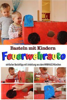 Basteln mit Kindern: Feuerwehrauto aus Karton. Ein einfacher Basteltipp mit Anleitung aus dem MNIHAUS München. Bastel- und Spielspaß für die ganze Familie. #bastelnmitkindern #bastelideenkinder #bastelnmitkleinkindern #bastelnmitkindernherbst #bastelideenkinderherbst #herbstbastelnmitkindern #feuerwehrautobasteln #bastelnmitkarton #bastelnmitkindernkarton Mini, Kids Rugs, Home Decor, Autos, Bored Kids, Infant Games, Father's Day, Decoration Home, Kid Friendly Rugs
