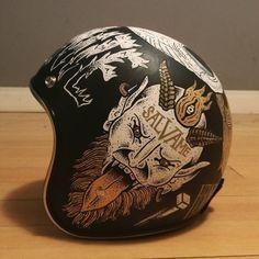 Vintage bike helmet motorbikes 55 New ideas Retro Helmet, Vintage Helmet, Custom Helmets, Custom Bikes, Vintage Bikes, Vintage Motorcycles, Hot Rods, Hardtail Mountain Bike, Moto Cafe