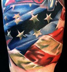 Brent Olson - American Flag filler Brent Olson Art Junkies Tattoo