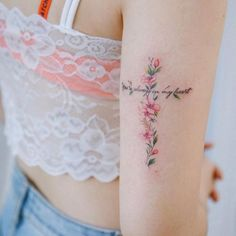 - ink You 're always in my heart💕 cherryblossom cross - Delicate Tattoos For Women, Cross Tattoos For Women, Tattoos For Women Small, Cross Tattoo Designs, Flower Tattoo Designs, Small Wrist Tattoos, Forearm Tattoos, Ankle Tattoo, Back Tattoo