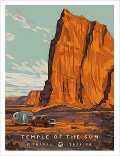 Temple of the Sun, a sandstone monolith in Capitol Reef National Park in Utah ~ Vintage original Travel Poster National Park Posters, National Parks, All The Bright Places, Nature Posters, Kunst Poster, Guache, Vintage Travel Posters, Adventure Is Out There, World Best Photos