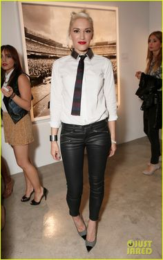 : Photo Gwen Stefani keeps it chic in a menswear-inspired outfit as she attends Steve Erle and Pete Black's new photography exhibit held at Siren Studios on Thursday…
