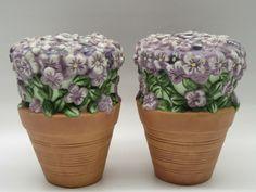 Vtg Pfaltzgraff Purple Flowers in Clay Pot Salt & Pepper Shakers Violets Pansies | eBay