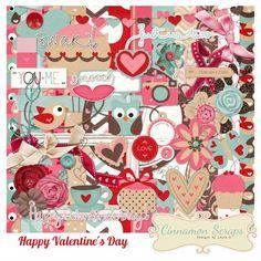 Happy Valentine's Day full kit freebie from Cinnamon Scraps #scrapbook…