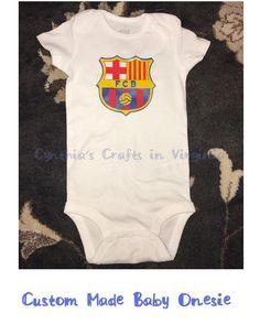 Custom Made Baby Onesie  #barca #barcelona #yesbbb #smallbusiness #soccerfan #baby #onesie #barcelonafc #fcbarcelona #soccer #futbol #cynthiascraftsinvirginia #etsy