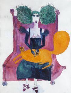 Pat Douthwaite   The Big Orange Cat   Sold for £5,250 Auction, Sculpture, Primitives, Artist, Artwork, Painting, Cat, Orange, Board