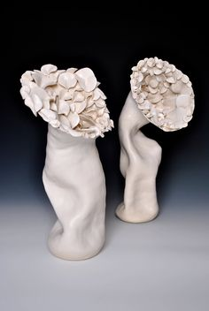 Organic Ceramic Petal Sculpture in White. $242.00, via Etsy.