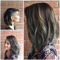 Modern Wavy Long Bob With Cool Side Shave By @chazdoeshair #UCFeed #Undercut #Undercuts #SideShave ...