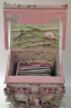 Graphic 45 Botanical Tea Mail Box House for the scrapbooking Mini Album - Blog tutorial By Anne Rostad