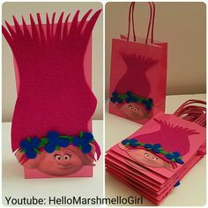 Trolls Birthday Party DIY Poppy Trolls, Felt Fabric, Trolls Hair, Dollar Tree, Party Favor Bags, Party Favors, Poppy, Trolls Theme, Gift Bags, Kid's Birthday Ideas DIY Candy bag