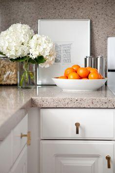 kitchen, white cabinets, brass pulls, Zodiac countertop backsplash, vignette, Venice Italy travel sketch, hydrangeas, fruit bowl