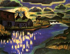 max pechstein landscapes   Marsh Landscape with Houses - Hermann Max Pechstein circa 1919
