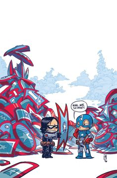 Bucky Barnes and Captain America by Skottie Young *