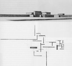 """This wonderfully free-flowing 1923 'pinwheel' plan for a country house project by Ludwig Mies van der Rohe combines elements of Frank Lloyd Wright, De Stijl Art (see below left for example from Berlage and Malevich. Architecture Graphics, Architecture Drawings, School Architecture, Architecture Plan, Contemporary Architecture, Minimalist Architecture, Organic Architecture, Ludwig Mies Van Der Rohe, Le Corbusier"