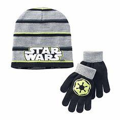 45f4b4a4f27 Boys Disney Star Wars Reversible Darth Vader Beanie Hat   Gloves Set Size  7-14