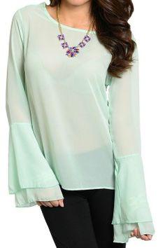 Cute Chiffon Top Wide Layered Sleeve Lace Cutout Back hi low hem Fashion Blouse