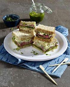 Roastbeef-Sandwich mit Pesto und Kresse #goldentoast #koernerharmonie