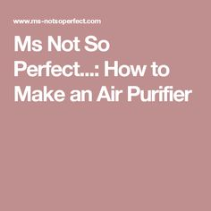 Ms Not So Perfect...: How to Make an Air Purifier