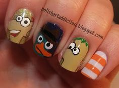 Mom Phineas & Ferb are on my nails now