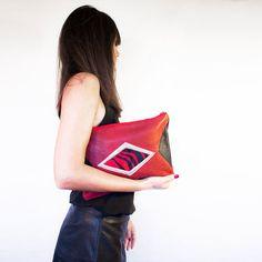 Red Black Calf Hair Clutch Modern Geometric Purse by gmaloudesigns
