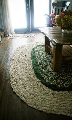 Large DIY braided area rug.