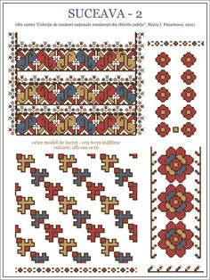 Semne Cusute: iie din BUCOVINA, Suceava Folk Embroidery, Embroidery Patterns, Knitting Patterns, Cross Stitch Tree, Simple Cross Stitch, Cross Stitch Designs, Cross Stitch Patterns, Knit Stranded, Mosaic Art